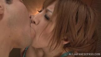 Sex appeal Reira Akane with great tits enjoys riding a pulsating and hot 10-pounder