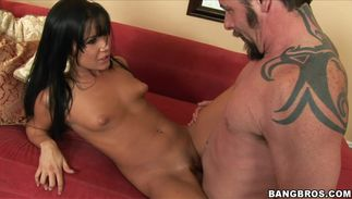 Charming lady Tanner Mayes with large natural tits and hunk are having casual sex while no one is watching them