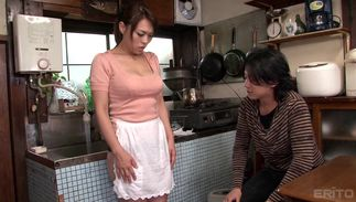 Sassy big breasted mom Reiko Nakamori who wants to be skillful is sucking dude's schlong like a pro