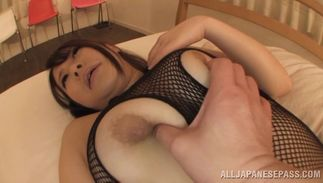 Sultry big titted Satomi Nagase uses all her sex weapons to seduce a bf