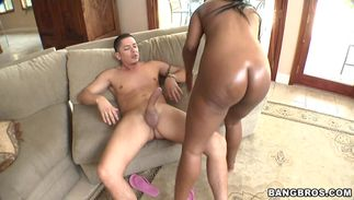 Overwhelming brown-haired lady Maserati with impressive tits is glad to take a schlong ride