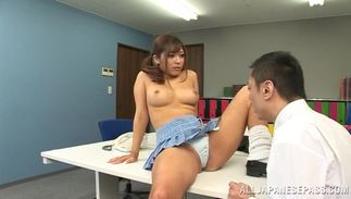 Outstanding woman Satou Haruka with round tits is riding guy's hard stick