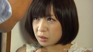 Goluptious Wakaba Onoue with large tits gives steamy handwork to stiff shlong