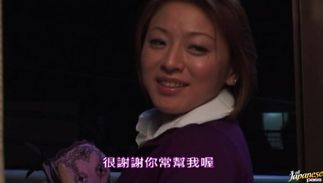 Slutty big titted Reiko Yamaguchi is kneeling in front of fucker and sucking his large dangler