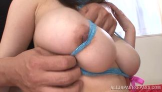 Passionate busty Akane Yoshinaga gives an outstanding blow job and gets doggy styled