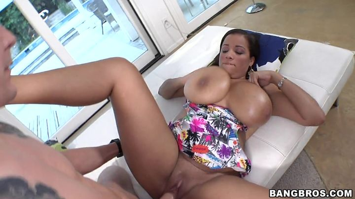 Seductive brown-haired Selena Star with firm natural tits enjoys being drilled by a buddy