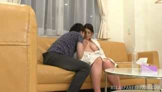 Appealing breasty Suzuna Komiya strokes a hard love rocket with her perfect tits
