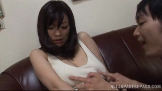 Delightsome gf Miyuki Matsushita with round tits getting her soaked cave drilled