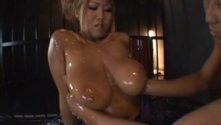 Excellent floosy Rui Akikawa with huge tits is satisfied by a hard tool