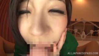 Voluptous gal Marie Nakamura with huge tits sucks and bonks a hard fuck stick