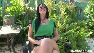 Frisky latin dark-haired sweetie Madison Rose with massive tits bangs like a fuck machine in non-stop act