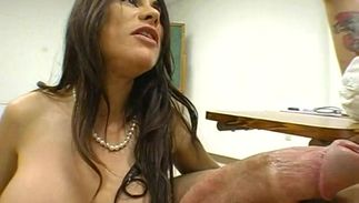 Worshipped brown-haired Sheila Marie with biggest tits and stranger are secretly having sex while they are home alone
