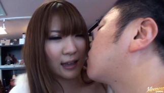 Stupefying chick Momoka Nishina with huge tits is bouncing up and down while fucking male like a domme