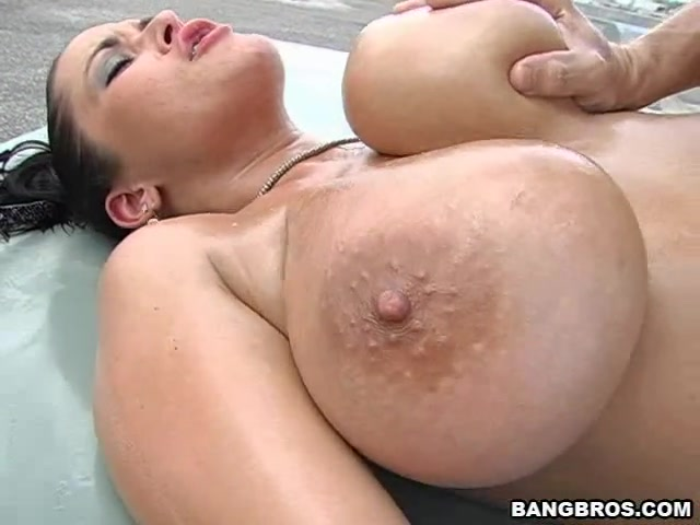 Luscious dark-haired playgirl Carmella Bing with massive natural tits thoroughly inspects fellow's hard fuck stick