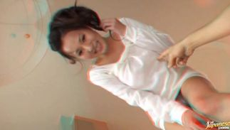 Delicious big breasted gf Ruri Saijo got an exciting caress from a playmate who wanted to fuck her