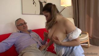 Fellow enjoys stretching topnotch busty brown-haired woman Kimberly Scott's nana beyond repair