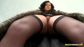 Delectable Tiffany Brooks with great mounds is having her 1st sex in front of the camera