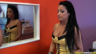 Captivating Abella Anderson with big tits rubs her love button while being doggy styled