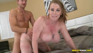 Savory girlfriend Desiree with huge tits sucking just 'cuz she likes doing it all the time