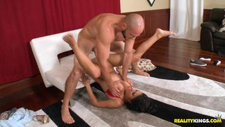 Delightful latin Evi Fox with massive tits loves to suck and ride large packing monster