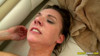 Inviting brown-haired Alora Jaymes with great tits enjoys riding stud