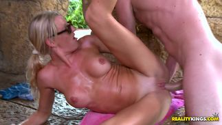 Tool craving lewd big boobed Avona Dominicas share the delight of a monstrus cock