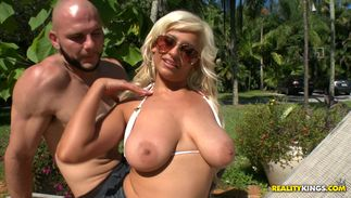 Playful busty blond minx Holly Brooks loves pleasing thick lovestick with her sensitive hands