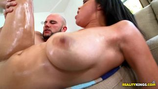 Magical big titted Stacey Foxxx receives thorough quim diving and a doggy style fucking