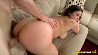 Sexual brown-haired woman Audrina Grace with massive tits tenderly rides stranger's throbbing prick