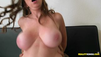 Tasty redhead Jessica Rayne with great tits gets a fat ramrod up her box