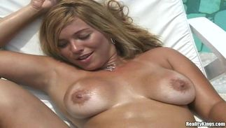 Voluptous latin chick Silvia with big tits is sucking a huge dong and enjoying it a lot