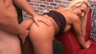 Delectable busty blond Tasha gets face fucked previous to riding a lever