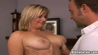 Delectable blond Kala with large tits receives a plowing