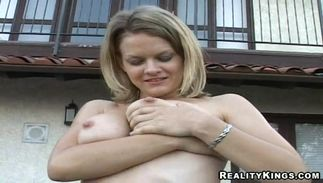 Sinful big titted chick Bailey Bliss rides a massive long sword
