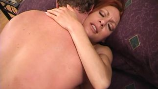 Classy big breasted redhead Elizabeth likes to get a massive fang deep in her mouth and wet box