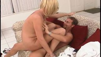 Lewd busty blond Clarissa loves to suck and ride love rocket